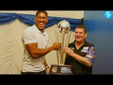 Anthony Joshua with newly crowned PDC Dart World champion Gary Anderson
