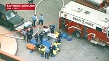 Aerial Footage Shows Hazmat Crews Responding To Possible Tuberculosis Contamination At Johns Hopkins Hospital