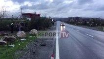 Report TV - Aksident në Lezhë, 'Benzi' del nga rruga, plagoset shoferi dhe dy pasagjere
