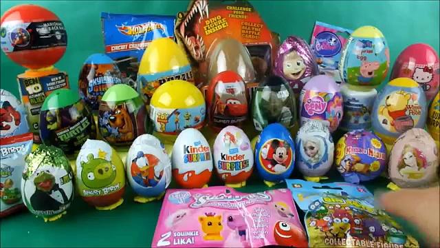 40 surprise eggs disney toys kinder surprise hot wheels littlest pet shop, Easter eggs