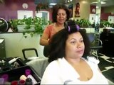 Dominican blow out on Natural hair at Dominican touch salon