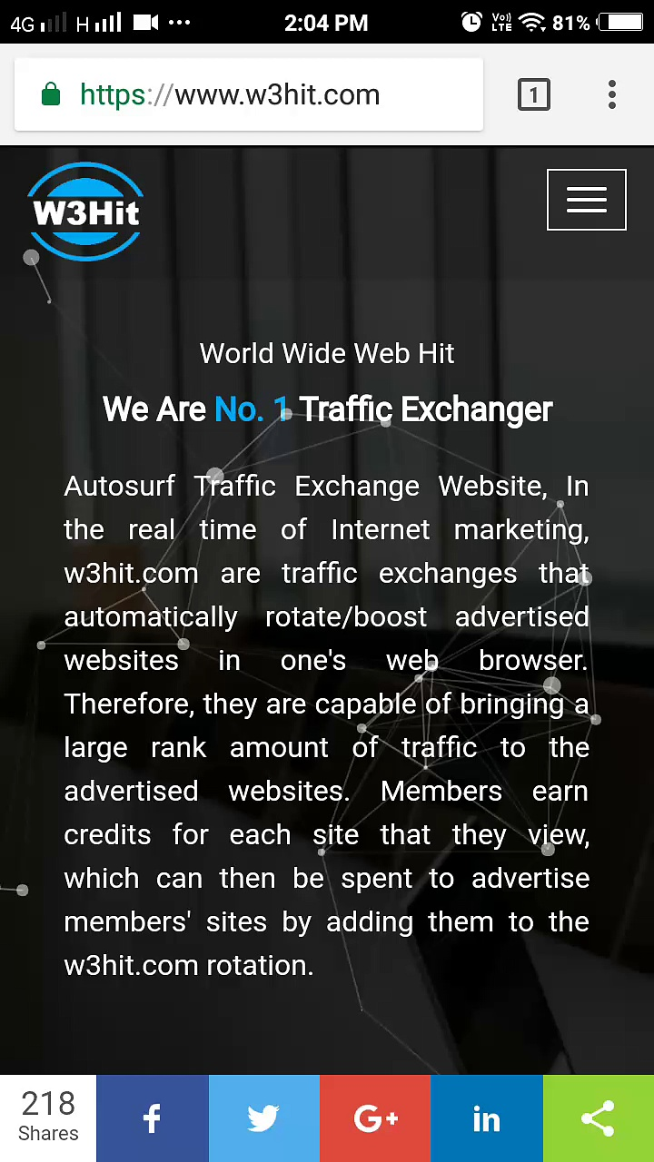 Free auto surf traffic exchange websites- w3hit.com