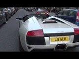 Chasing a Lamborghini Murcielago LP640-4 Roadster in London - Revving Accelerating