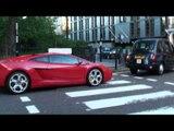 Red Lamborghini Gallardo Coupe - Driving and Accelerating in Knightsbridge, London