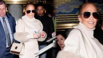 Jennifer Lopez gets mobbed by fans while leaving Tonight Show in tight skirt and fur trimmed sweater