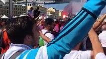 OM-Atlético  : chants olympiens avant le verre de l'amitié sous l'ombrière du Vieux-Port