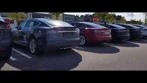 Many Tesla cars at Tesla in Kristiansand, Norway