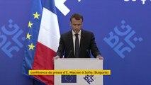 """""""Les dirigeants européens sont unis sur l'Iran et le commerce"""", explique Emmanuel Macron, lors de sa conférence de presse à Sofia (Bulgarie)"""