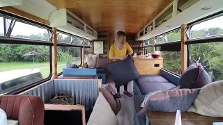 Tour of our Tiny House Bus Conversion Bus Life NZ RV Living