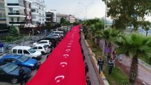 Samsun sahili ay-yıldız...1919 metrelik Türk bayrağı açıldı