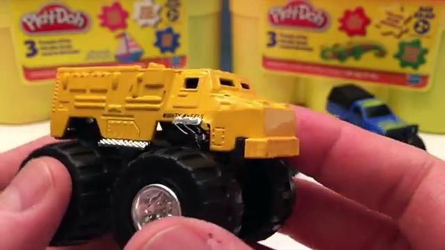 MONSTER TRUCKS with Play Doh 4×4 Trucks