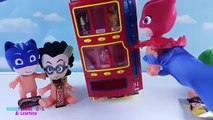 PJ Masks Baby Dolls, Owlette, Gekko, Romeo, and Catboy Vending Machine Candy and Toy Surprises