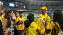 IPL 2018 : Sakshi Dhoni joins MS Dhoni on field to celebrate CSK's win over SRH | वनइंडिया हिंदी
