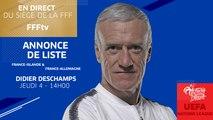 Jeudi 4, Équipe de France : l'annonce de liste de Didier Deschamps en direct