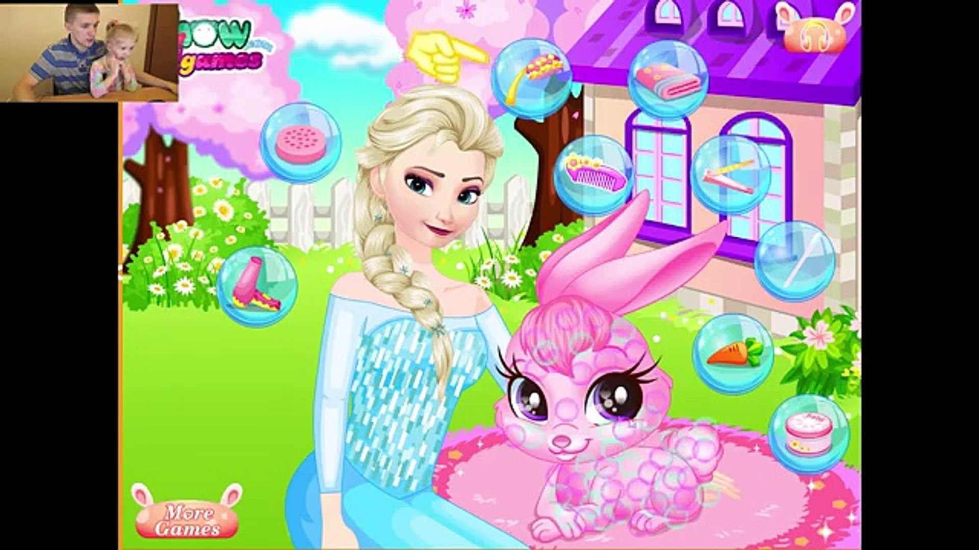 Игра Эльза забота о кролике (холодное сердце) / Elsa Frozen Pet Care Baby Videos Games For Kids