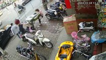 Out Of Control Moped Crashes Into Bystanders