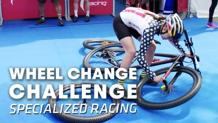 """MTB Team """"Specialized Racing"""" does the Wheel Change Challenge. 