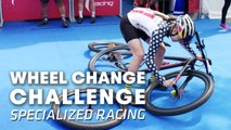 "MTB Team ""Specialized Racing"" does the Wheel Change Challenge. 