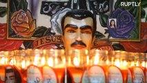 Devotos mexicanos honram o santo do tráfico em Culiacan