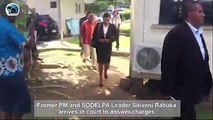 Former Prime Minister and SODELPA Leader Sitiveni Rabuka has arrived in court to answer charges in relation to the declaration of his assets and liabilities as