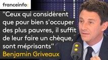 """""""Ceux qui considèrent que pour bien s'occuper de ceux qui sont dans la pauvreté, il suffit de leur faire un chèque, sont méprisants"""", estime Benjamin Griveaux, porte-parole du gouvernement #8h30politique"""