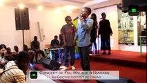 """Fou Malade et Niagas Interprètent le titre mbey au concert de lancement de l'album """"Assane Ak Ouesseynou """" au Goethe Institut de Dakar."""