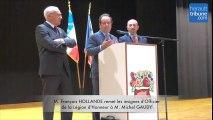 FLORENSAC - Remise Légion d'honneur à Michel Gaudy par Francois Hollande
