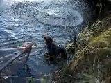 Doudoune(ma chienne) joue dans l'eau