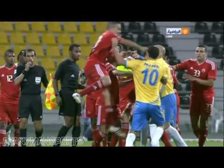 When Football Turns Into Mortal Kombat Al Gharafa Al Arabi Trade Blows Nene Vs Houssine Kharja Video Dailymotion