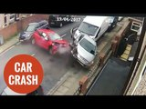 Shocking CCTV shows moment car ploughs into FOUR vehicles