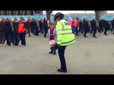 Female Police Officer Shows Off Her Keepie-Uppie Skills On Wembley Way Before FA Cup Semi Final