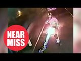 Shocking CCTV shows moment firework misses firefighter by inches after being thrown at him