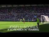 Newcastle's New Signing Joselu Scores A Screamer In Training