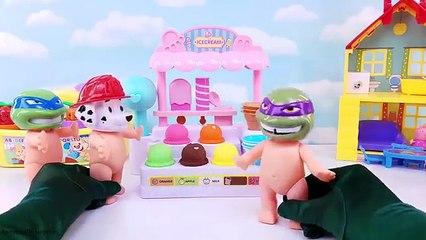 Paw Patrol Babies Visit Playdoh Ice Cream Stand Skye Marshall Chase TMNT Toys