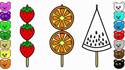 Learn Colors for Kids with Fruit Kabobs | Coloring Page and Drawing