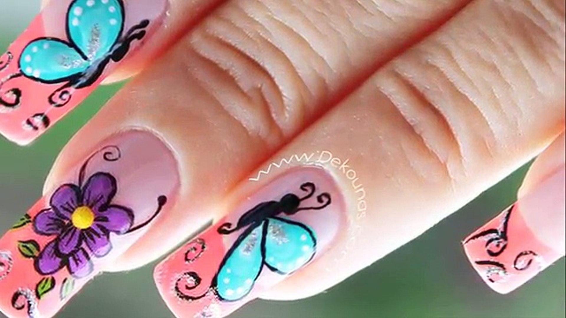 Decoracion De Uñas Mariposas Y Flores Facil Butterfly And Flower Nail Art
