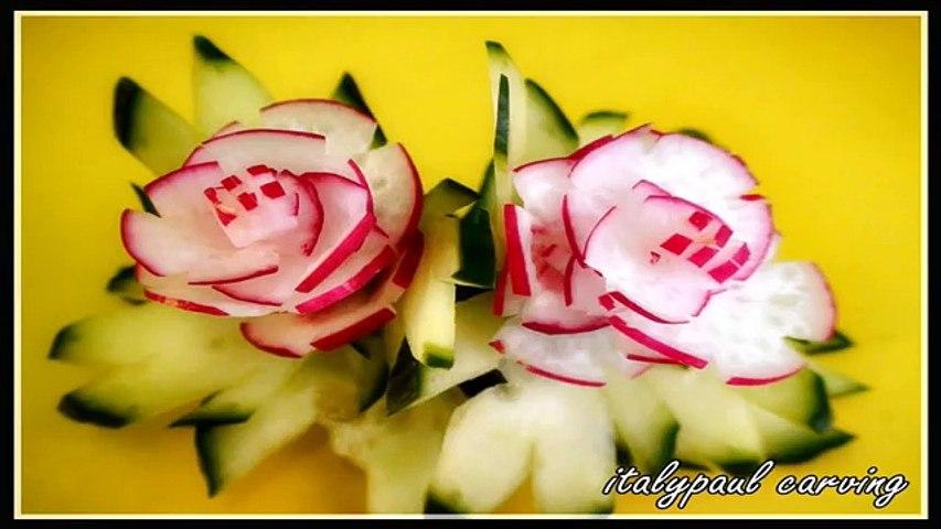 Radish Flower | Cucumber Leaf - Art In Radish Show - Vegetable Carving Rose Tutorial