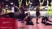 Fiji Airways Men's 7s player Semi Kunatani at the gym in Hong Kong yesterday.#TOSOVITI