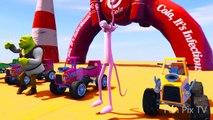 Aprende el color con el autobús y Spiderman Cartoon para niños Colores Cars fo