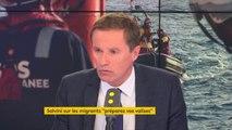 """Migrants : """"Il faut rétablir les contrôles dans tous les pays. (...) Il faut totalement en finir avec Schengen"""", explique Nicolas Dupont-Aignan #8h30politique"""