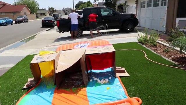 DONT Water Slide through the Wrong Mystery BOX!! ( Slip 'N Slide vs MYSTERY BOX)