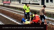 Un homme prend un selfie devant une femme écrasée par un train (Vidéo)