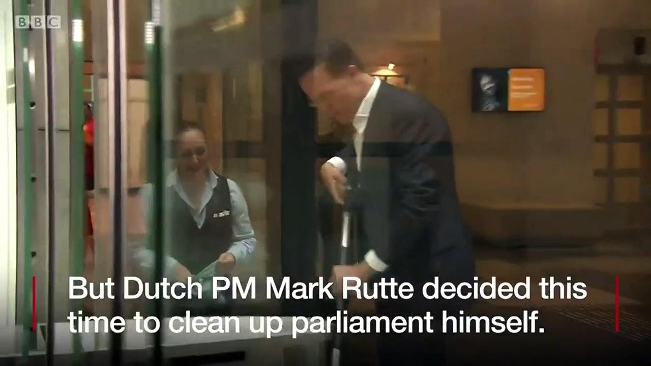 Dutch PM's parliament coffee spill