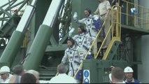 Crew of Soyuz MS-09 Prepare for Launch & Board Rocket