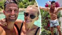 Shredded for the wedding! Shirtless Tim Robards shows off his insane abs in tiny boardshorts as he prepares to tie the knot with Anna Heinrich in Italy