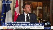 """G7: """"Il ne faut pas s'interdire un accord à 6+1"""" face aux Etats-, défend Emmanuel Macron"""