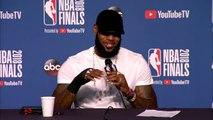 Interview d'après match de LeBron James annonçant qu'il a une main cassée Game 4 Finales NBA