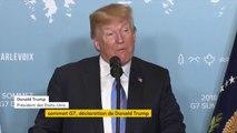 """Sommet du G7 : Donald Trump estime que les États-Unis ont """"été traités de façon très injuste"""" sur la question du commerce international. """"Je n'accuse personne ici, j'accuse les chefs d'Etat précédents"""", poursuit le président américain"""
