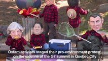 Oxfam stunt: 'G7 leaders' on camping trip as the world burns