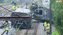 Un train déraille à Neufvilles: plusieurs wagons sur le flanc, le conducteur blessé